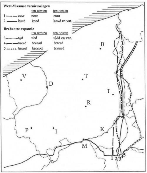 isoglossen tussen west vlaams en oost vlaams _Devos2006