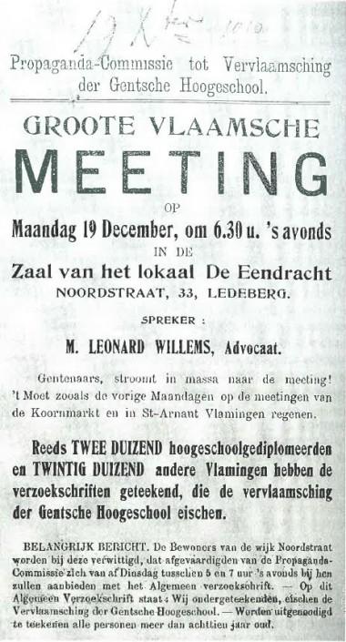 Strijd om de vernederlandsing van de Universiteit Gent. Van der Sijs N. en R. Willemyns (2009). Het verhaal van het Nederlands